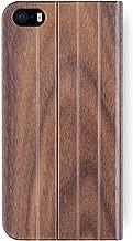 iATO iPhone SE / 5s / 5 Book Type Case - Real Walnut Wood Grain Premium Protective Front and Back Wooden Cover. Unique, Stylish & Classy Folio Flip Bumper Accessory Designed for iPhone SE / 5s / 5