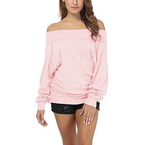 b4a42a7c95520 iGENJUN Women s Dolman Sleeve Off The Shoulder Sweater Shirt Tops