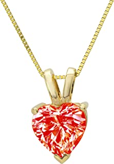 """0.55 ct Brilliant Heart Cut Ideal Cubic Zirconia VVS1 D Solitaire Pendant Necklace With 16"""" Gold Chain box Birthstone Solid Real 14k Yellow Gold, Clara Pucci"""