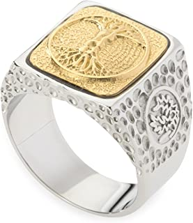 Unique Tree of Life Signet Ring. Platinum Style Surgical Stainless Steel with 18kt Gold Plating. Comfort Fit.