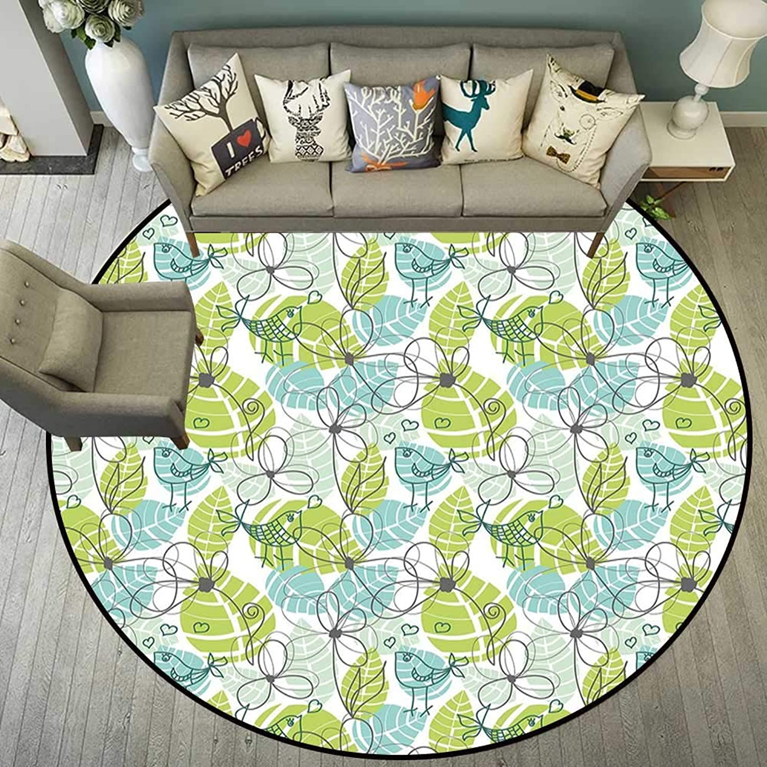 Circle Floor mat Beach Round Indoor Floor mat Entrance Circle Floor mat for Office Chair Wood Floor Circle Floor mat Office Round mat for Living Room Pattern 5'3  Diameter