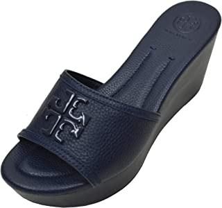 15f6650e5a91 Tory Burch Women s Lowell 2 80MM Wedge Slide Sandal Shoes Perfect Navy (8.5)