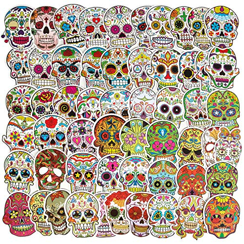 Mexican Day of The Dead Stickers, Sugar Skull Stickers(50pcs), Waterproof Water Bottle Stickers Skateboard Stickers Laptop Stickers for Teens, Halloween Stickers Party Favor Supplies Luggage Bike Vinyl Decal