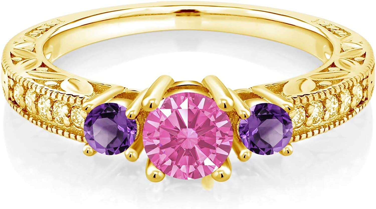Gem Stone King 18K Yellow Gold Silver Plated Financial sales sale Ring Purple Finally popular brand 3-Stone