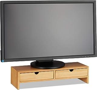 Relaxdays Support pour moniteur en bambou, Rehausseur d'écran 2 tiroirs, bureau et étude HLP, 11,5 x 47 x 18cm, naturel