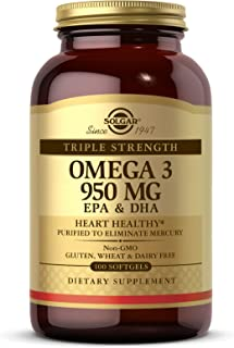 Solgar Triple Strength Omega-3 950 mg, 100 Softgels - Supports Cardiovascular, Joint & Skin Health - Heart Healthy Supplem...