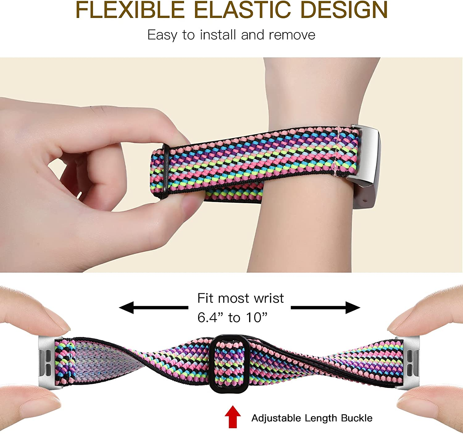 GEAK Stretchy Band for Fitbit Charge 4/Fitbit Charge 3 Bands, Adjustable Elastic Breathable Nylon Replacement Strap for Fitbit Charge 3/3SE/Charge 4 Bands Women Men Colorful Rope/Brown Leopard