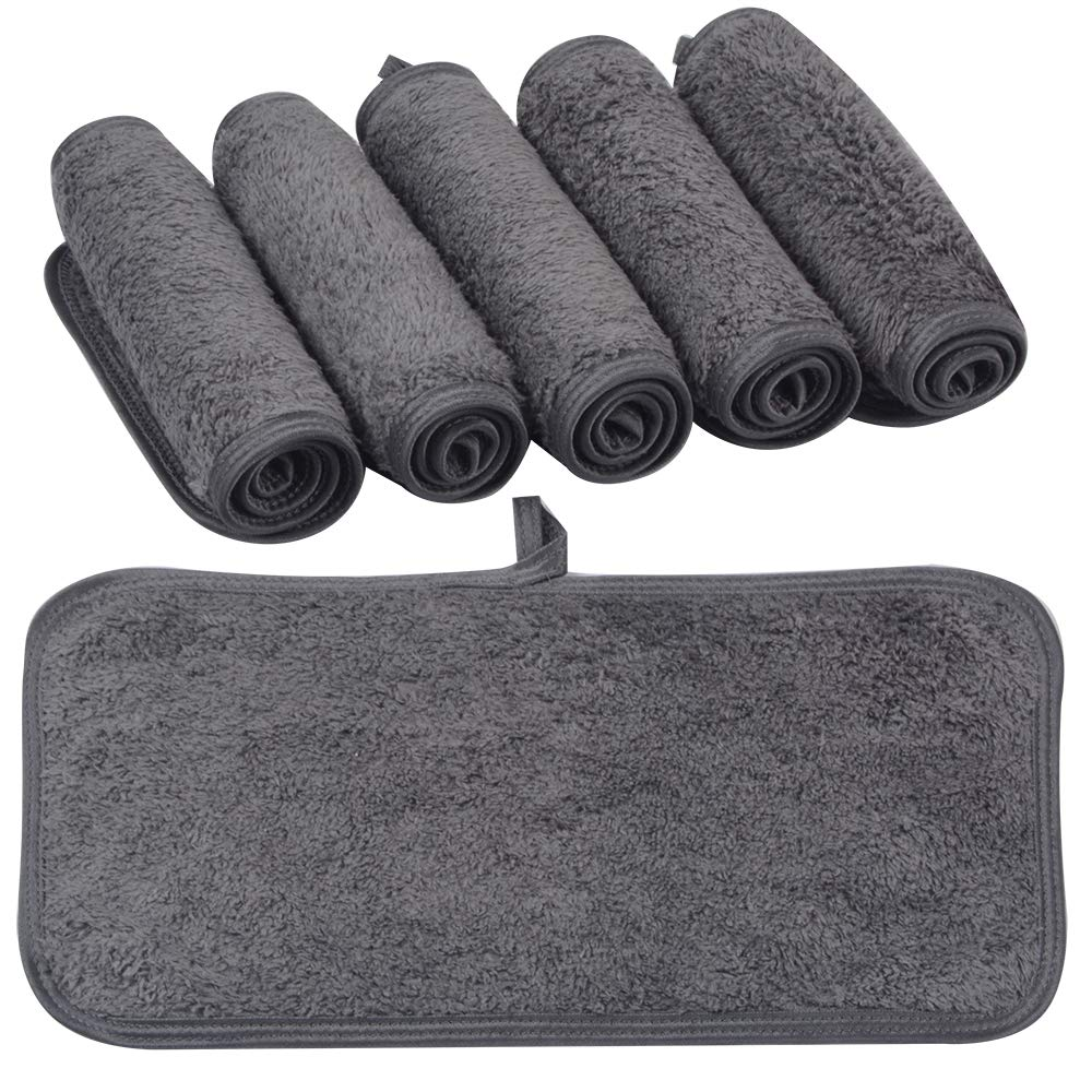 KinHwa Reusable Makeup Remover Cloths Soft Microfiber Face Cleansing Cloth Magically Remove Cosmetics Only with Water 6inch x 12inch 6 Pack Dark-Gray : Beauty