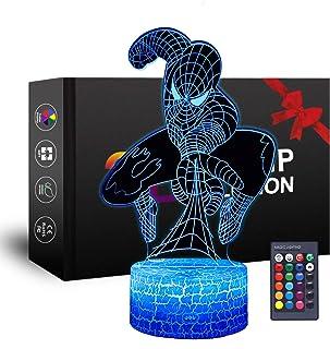 Luz nocturna 3D de superhéroe, juguete de Spiderman para niños, luz nocturna, fiesta, Navidad, cumpleaños, regalo para niños, niñas, niños (Spiderman)