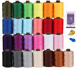 Wuudi Fil /à Coudre Kit en Polyester 30 Couleurs /à 250 Yard Avec 2 Enfile-aiguille et 16 Aiguilles pour Artisanat DIY Machines /à Coudre