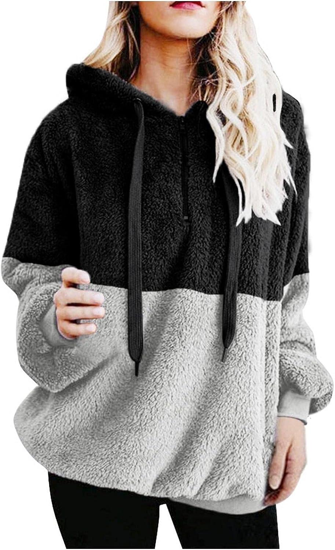 Toeava Hoodies for Women, Women's Fuzzy Fleece Hoodie Sweater Long Sleeve Drawstring Zipper Thermal Pullover Sweatshirt
