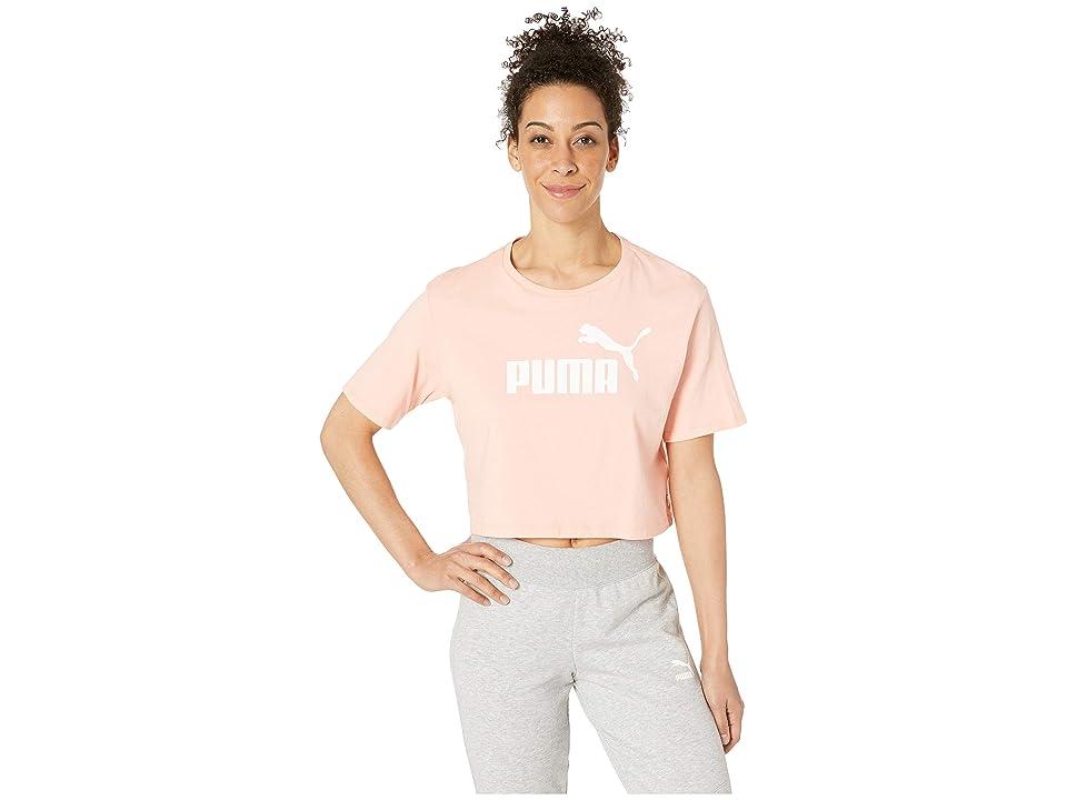 PUMA ESS+ Cropped Logo Tee (Peach Bud) Women