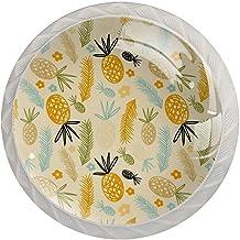 Ananas en blad, 4-Pack van ABS hars keukenkast knoppen trekt ronde afdrukken dressoir knoppen lade handgrepen kast deurkno...
