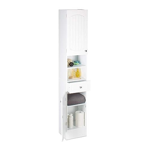 Relaxdays Colonne de Salle de Bain en Bois Blanc Armoire Porte tiroir Meuble de Rangement MDF lamelles HxlxP: 173,5 x 30,5 x 32 cm, Blanc