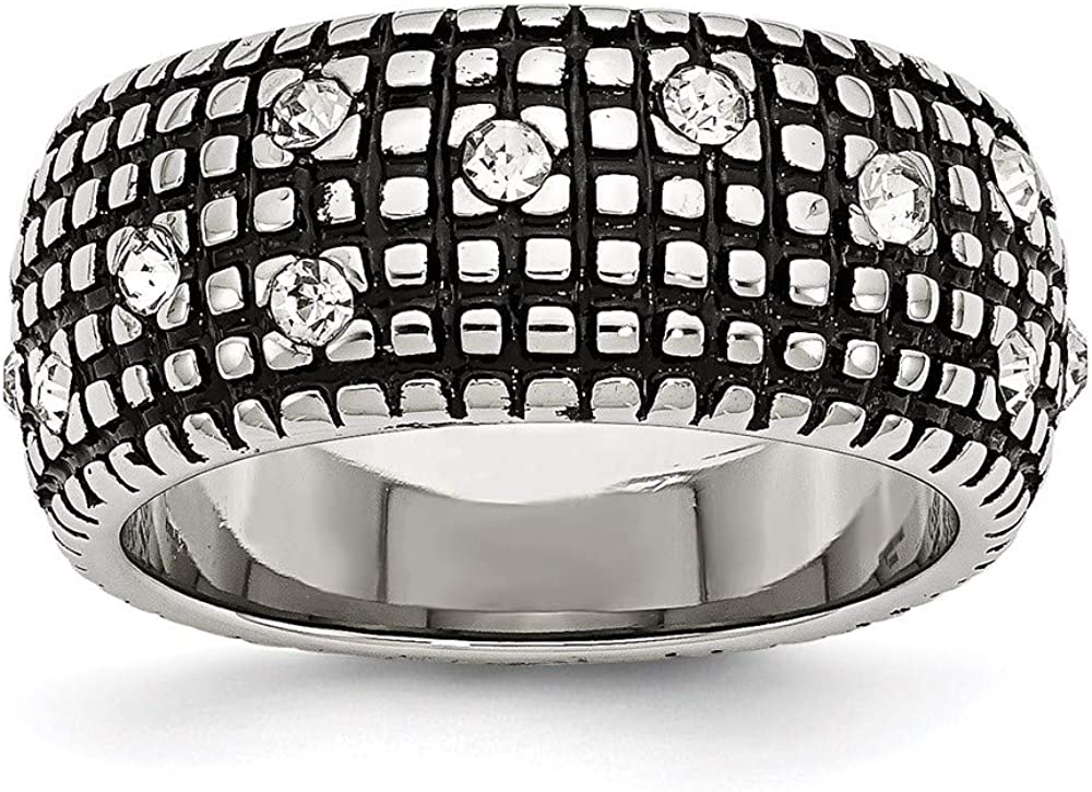 Ryan New sales Jonathan Fine Jewelry Stainless Crystal Ranking TOP9 Ring Antiqued Steel