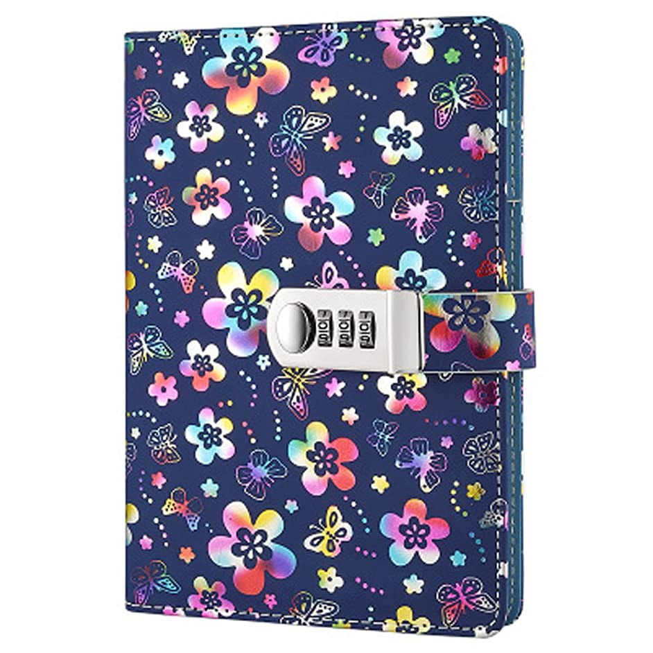 Yakri Stationery Notebook Password with Lock Diary Book Creative Password Diary Handbook Notepad Locking Journal Diary TPN102 (Colorful Flowers)
