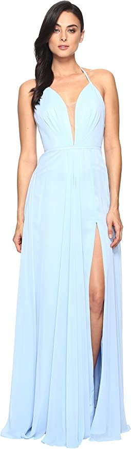 Chiffon V-Neck Gown w/ Full Skirt 7747