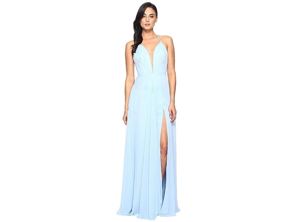 Faviana Chiffon V-Neck Gown w/ Full Skirt 7747 (Cloud Blue) Women
