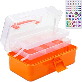 SGHUO 11'' 3-layer Plastic Storage Box Multipurpose Organizer Container Art Tool Case for Craft Hair Sewing Cosmetic Nail ...
