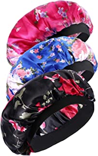 Onwon 3 Pieces Satin Bonnets Night Sleep Caps Wide Band Salon Cap Soft Satin Sleeping Bonnet Silk Night Sleep Hat Hair Loss Cap Sleeping Head Cover for Women Girls Sleeping