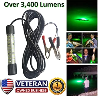 IllumiSea Ultra Bright 25w 3450 Lumen 12v Green, White, or Blue Underwater LED Fishing Light- Powerful & Innovative Designed Mini BriteBite Attract & Catch More Fish in Fresh & Saltwater