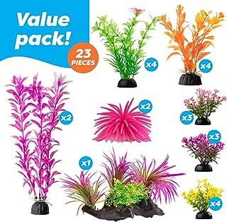 AroPaw Aquarium Decorations 20-30 Pack Lifelike Plastic Decor Fish Tank Plants, Small to Large
