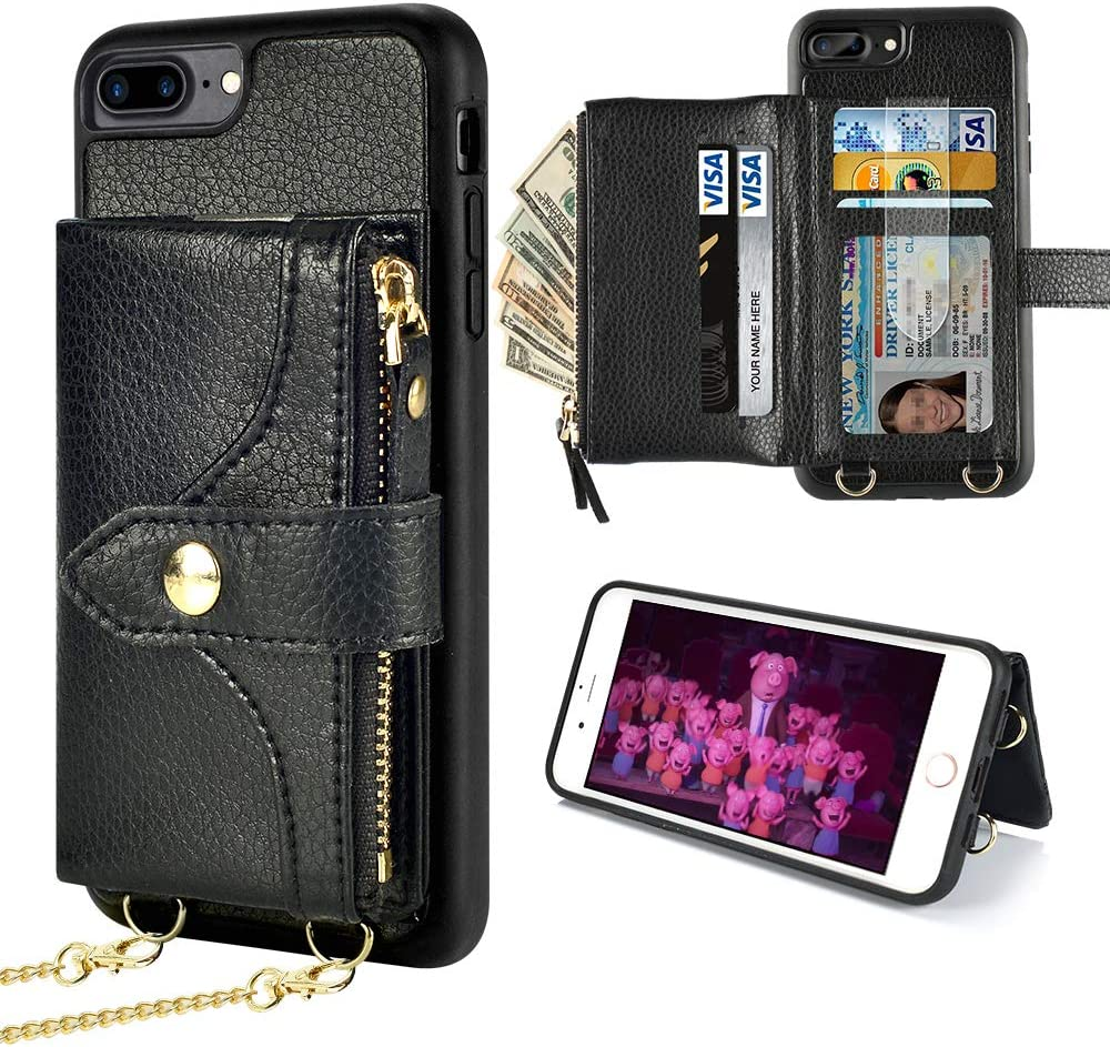 LAMEEKU Wallet Case Compatible with iPhone 8 Plus, iPhone 7 Plus Case Wallet Card Holder Leather Case with Wrist Chain Crossbody Strap Zipper Case for iPhone 7 Plus/8 Plus, 5.5 inches-Black