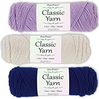 Soft Acrylic Yarn 3-Pack, 3.5oz / Ball, Light Lavender + Eggshell White + Olympic Blue. Great Value for Knitting, Crochet, Needlework, Arts & Crafts Projects, Gift Set for Beginners and pros Alike