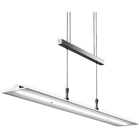 B.K.Licht suspension LED, lustre filaire design, fonction dimmable - pas besoin d'un variateur, hauteur réglable, platine LED 20W intégrée, lumière blanche chaude