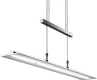 B.K.Licht Lámpara LED de techo colgante de metal y cristal auténtico, altura y luminosidad regulables, 20 W, 1600 lm, 3000...
