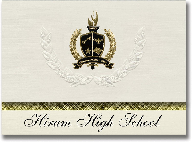 Signature Ankündigungen Hiram High School (Hiram, GA) Graduation Ankündigungen, Ankündigungen, Ankündigungen, Presidential Stil, Elite Paket 25 Stück mit Gold & Schwarz Metallic Folie Dichtung B078TSYRTS  | Ausgang  ca3765