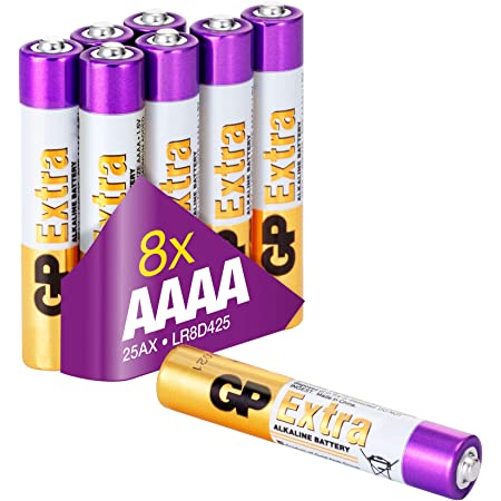 AAAA - Set da 8 Batterie   GP Extra   Pile Microstilo AAAA Alcaline da 1,5V / MN2500 / LR61 - Lunga Durata