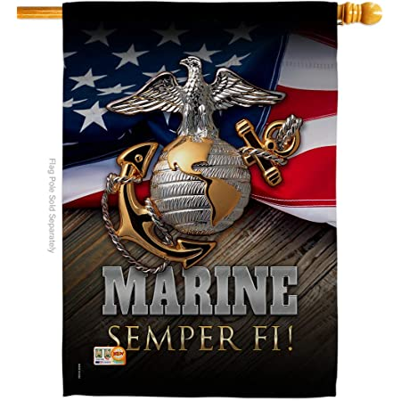Amazon Com Angeleno Heritage Marine Semper Fi Americana Everyday Military Impressions Decorative Vertical House Flag 28 X 40 Printed In Usa Garden Outdoor