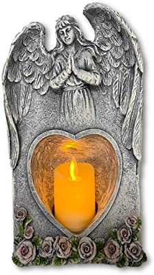 THE NIFTY NOOK Praying Angel Figurine Wings Flameless Candle Holder Sculpture Statue Decoration Home Wedding Christmas Church Angel Figurine Collection Gift (Praying Angel Wings)