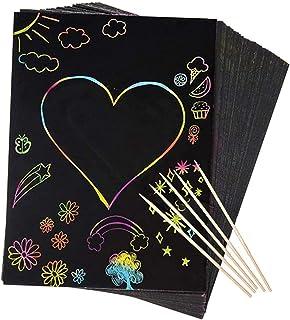 DELFINO Scratch Paper Art Set, Goolsky 50 Piece Rainbow Magic Scratch Paper for Kids Scratch Art Crafts with 5 Wooden Styl...