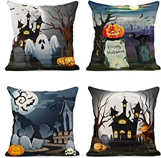 ArtSocket Set of 4 Throw Pillow Covers Blue of Scary Church Ghost and Pumpkins Happy Halloween Cemetery Decor Linen Pillow Cases Home Decorative Square 18x18 Inches Pillowcases