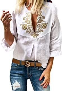Women's Boho Embroidered V Neck 3/4 Sleeve Casual Loose Blouse Shirts Tops