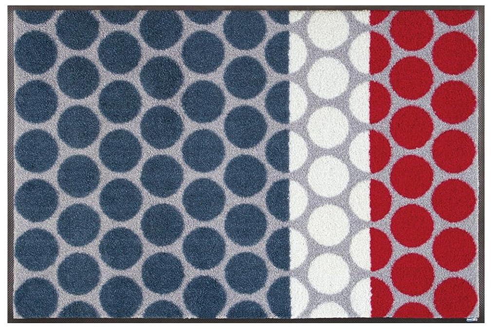 鉄道駅マイルストーン三番クリーンテックス?ジャパン 玄関マット Mixed Dots grey 50×75cm wash+dry(ウォッシュ アンド ドライ) AB00197