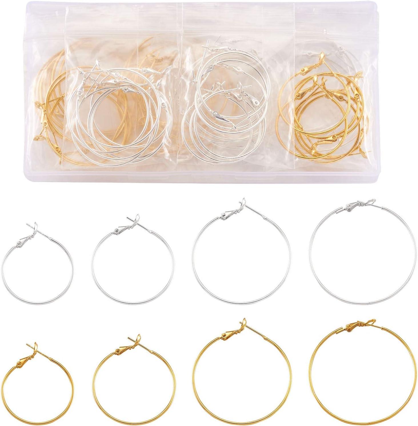 Cheriswelry 64 aros de latón con cuentas redondas de oro y plata redonda de círculo abierto para hacer joyas de bricolaje (30 mm/35 mm/40 mm/45 mm)