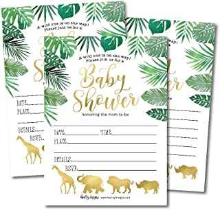 25 Safari Baby Shower Invitations, Sprinkle Invite for Boy or Girl, Gender Neutral Reveal Jungle Animal Theme, Cute Printed Fill or Write in Blank Printable Card, Coed Twin Party Stock Paper Supplies