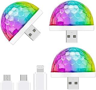 USB Mini Disco Light,3 Packs,Party Lights Ball Sound Activated, Halloween DJ Disco Ball..