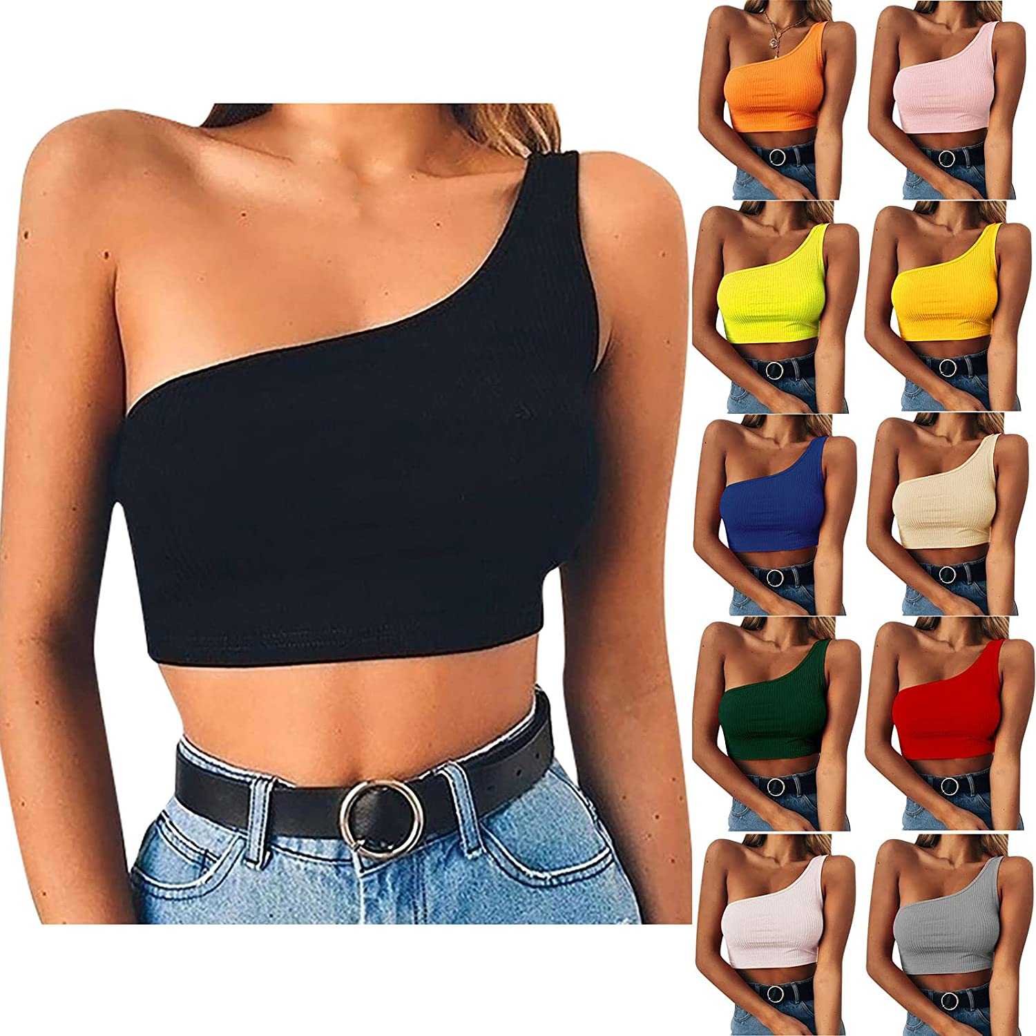 Crop Tops for Women Sexy One Shoulder Shirts Ribbed Knit Solid Color Tees Sleeveless Tunic Summer Tank Tops