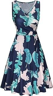 KILIG Women's V Neck Sleeveless Summer Casual Elegant Midi Dress