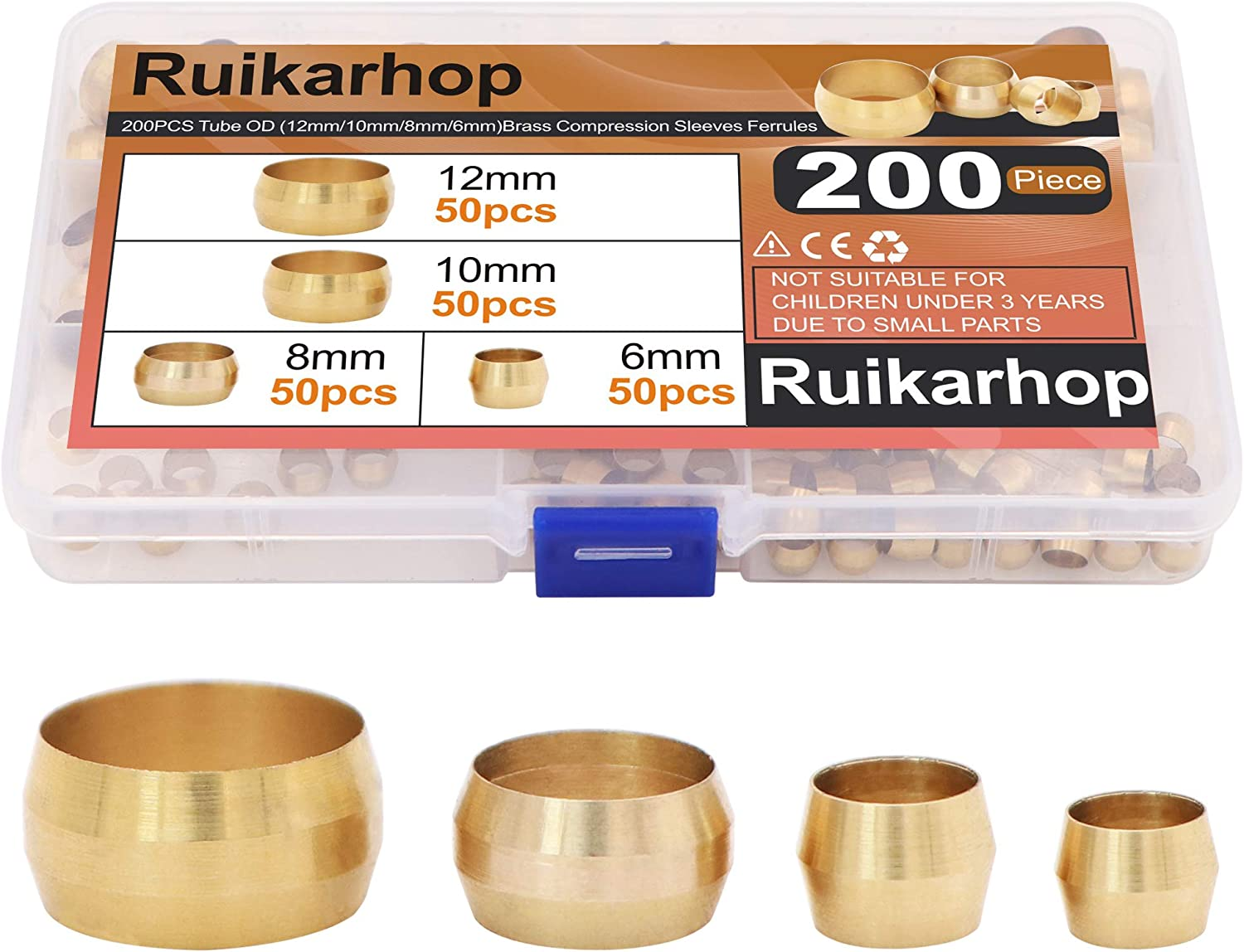 Popular brand in the world OFFicial store Ruikarhop 200PCS Tube OD(6mm 8mm Compressi 12mm Brass 10mm