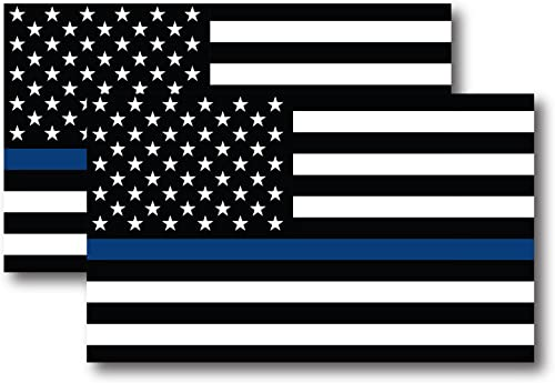 Thin Blue Line American Flag Magnet Decal 5 inch x 3 Inch 2 Pack - Heavy Duty for Car Truck SUV - in Support of Polic...
