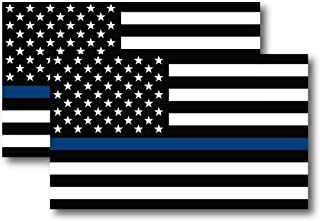 Best Thin Blue Line American Flag Magnet Decal 5 inch x 3 Inch 2 Pack - Heavy Duty for Car Truck SUV - in Support of Police and Law Enforcement Officers Review