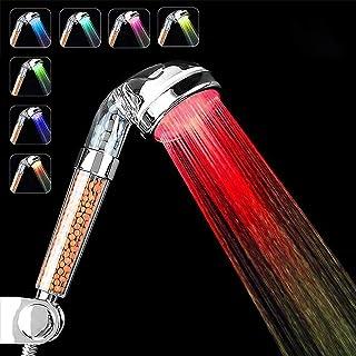 Pommeau Douche,7 Couleurs LED Changement,Douchette de Douche LED Salle de Bain Spa - haute pression economie deau- Haute F...
