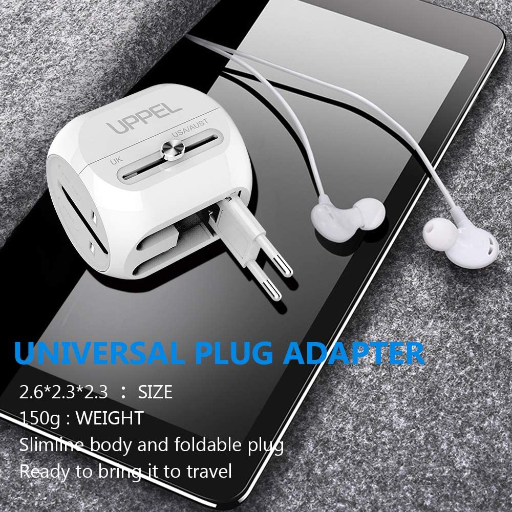 UPPEL Power Plug Adapter Universal Travel Power Adapter Travel Charger All in One with QC3.0&USB&Type-C Port Function Charger,Travel Adapter and Converter Used in UK/US/EU AU/Asia(200 Countries)