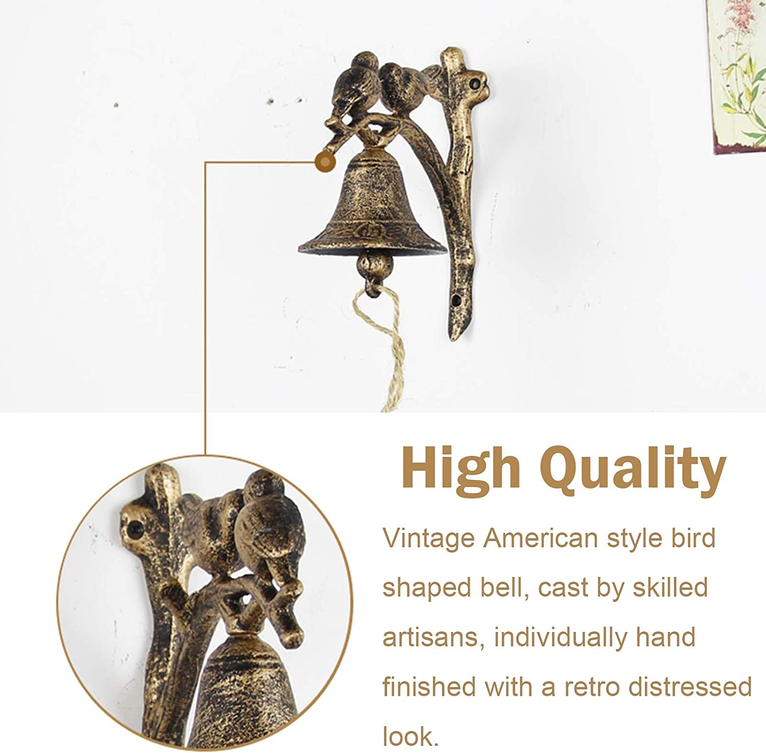 Color : Black Vintage Lovely Bird Bells Manually Shaking Wall ...