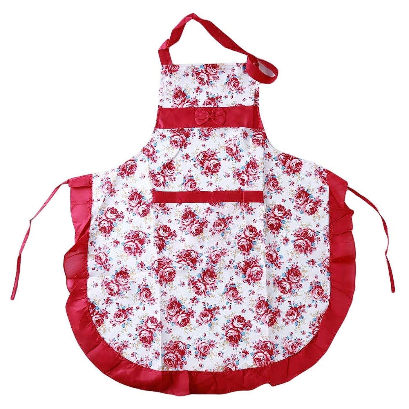 カウントアップセッションセーターCngstar エプロン 花柄 女性用 かわいい 丈短い お洒落 動きやすい 仕事用 家庭用 シワになりにくい 母の日 プレゼント (ピンク)